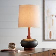 Mid Century Table Lamps Andi Mid Century Ceramic And Wood Table Lamp 9h566 Lamps Plus