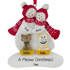 snow with 2 cats scarves ornament personalized
