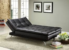 Comfortable Couch Bed Hasty Black Leatherette Adjustable Sofa Bed Futon Chaise