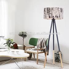 tripod floor l wooden legs hotel handmade antique wooden tripod floor l with fabric shade