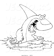 vector of a cartoon shark steering a boat outlined coloring page