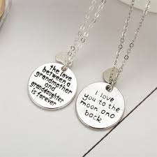 grandmother granddaughter necklace retro circular carving alphabet lettering silver necklace