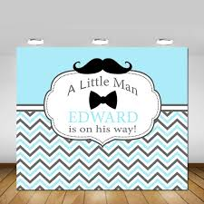 little man mustache baby shower little man backdrop mustache bow tie blue white grey