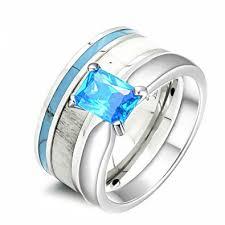 turquoise and wedding ring 2 pc womens deer antler wedding ring set turquoise