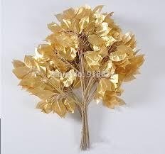 12pcs 55cm length gold banyan tree leaf leaves branch artificial