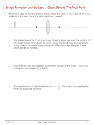 image formation and the lens object beyond the focal point ppt
