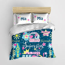 Personalized Girls Bedding by Hello Sunshine Teen Girls Bedding Personalized Hearts And Stars