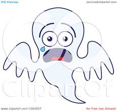 clipart of a scared halloween ghost crying royalty free vector