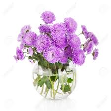 Flowers In Vases Pictures Bouquet Of Many Beautiful Chrysanthemum Flowers In Glass Vase
