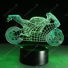 led pour chambre le de table led yeduo colorée en forme de moto 3d plaque