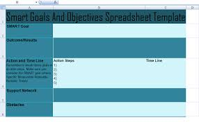 get smart goals and objectives spreadsheet template excel