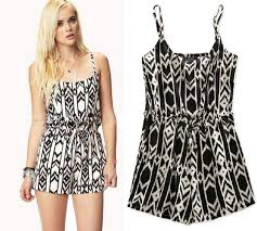 one shorts jumpsuit summer fashion geometric patterns cotton black white