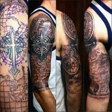 half sleeve mens map cover up
