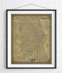 Chicago Map 1890 by Chicago Map Print Vintage Map Art Antique Map Chicago Wall Art