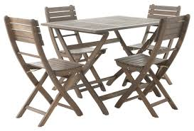 Folding Dining Chairs Vicaro Outdoor Acacia Wood Foldable Dining Set Gray Traditional
