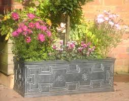 large trough garden planter tudor style pewter 120 litre amazon