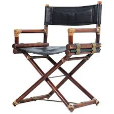 Leather And Wood Chair Mcguire Pair Of Wood Leather And Brass Director U0027s Chairs Usa