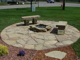 Design A Patio Slate Rock Patio Sandstone Patio Firepit And Benches