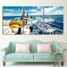 sea home decor canvas wall art pictures frame home decor 3 pieces yacht blue sea