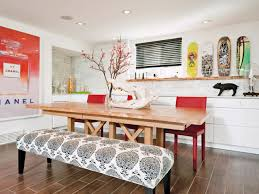modern eclectic dining set with patterned bench and wooden table