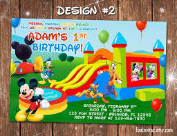 mickey mouse bounce house birthday photo invitations two
