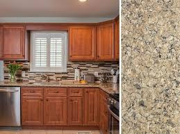 how to freshen up stained kitchen cabinets what countertop color looks best with cherry cabinets
