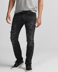 slim black destroyed stretch jeans express
