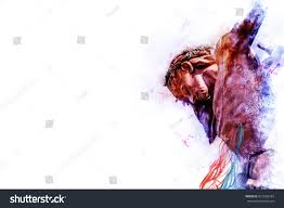 jesus on cross artistic abstract stock illustration