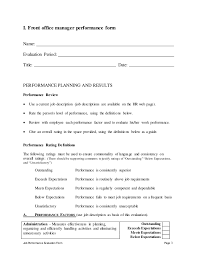 Medical Office Manager Job Description Resume by Front Office Manager Performance Appraisal