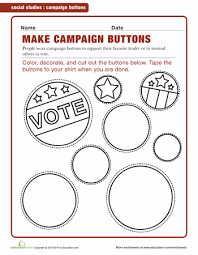 campaign buttons worksheets social studies and homeschool