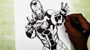 marvel superhero iron man comic speed drawing and inking time