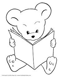 teddy bear coloring pages free printable reading bear coloring