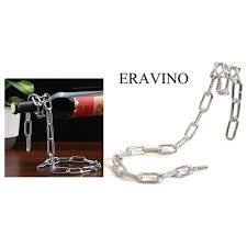 eravino novelty magic floating steel link chain wine bottle rack