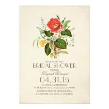 Vintage Bridal Shower Invitations Classic Vintage Watercolor Flower Personalized Announcements
