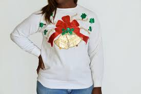 90 u0027s tacky ugly christmas sweater with large gold bell puff paint