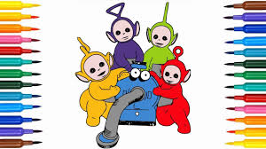 learn colors kids teletubbies drawing coloring pages