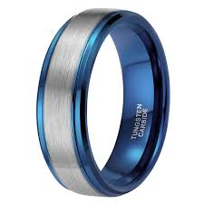about tungsten rings images 8mm blue tungsten rings brushed two tone high polish wr8969l jpg