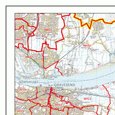 Map Me Medway Me Postcode Wall Map Xyz Maps