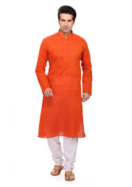 kurta colors entrancing orange colored embroidered cotton readymade kurta pajama