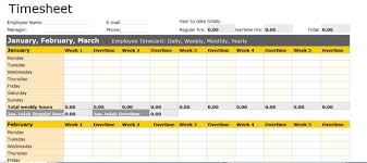 Excel Template For Timesheet Monthly Timesheet Template Whole Year
