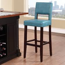 kitchen islands with wine racks ocean blue leather bar stools light wood flooring island with wine