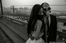 beijing bride and groom pose in gas masks in china smog linkis com