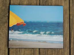emerald isle photo canvas yellow beach umbrella beach days