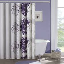 Curtains With Purple In Them Purple And Gray Curtains White With Grey Flowers Bathroom