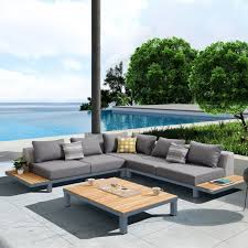 living polo 4 piece outdoor sectional set with dark gray cushions