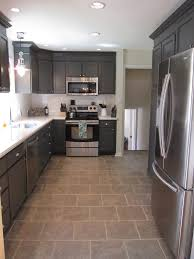 kitchen white cabinet dark grey floor tilescharcoal painted