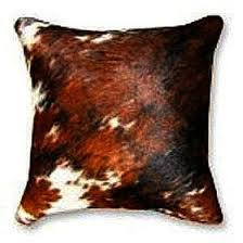 Cowhide Pillows Natural Exotic Tricolor Cowhide Decorative Throw Pillow
