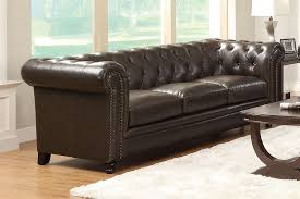 Tufted Brown Leather Sofa Roy Collection 504551 Sofa Loveseat Set Brown Leather Tufted