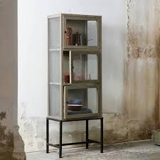 3 door display cabinet bepurehome showcase showcase 3 door gray metal wood 182x60x40cm