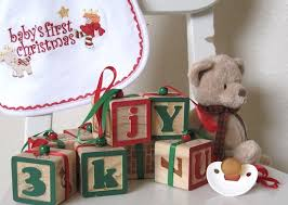 red and green painted wooden baby block christmas ornaments